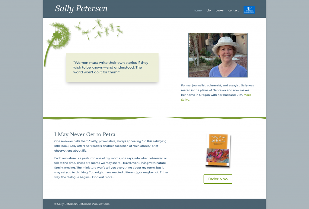 Screenshot of author Sally Petersen's website developed by Websites503